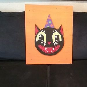 Haid painted vintage halloween cat